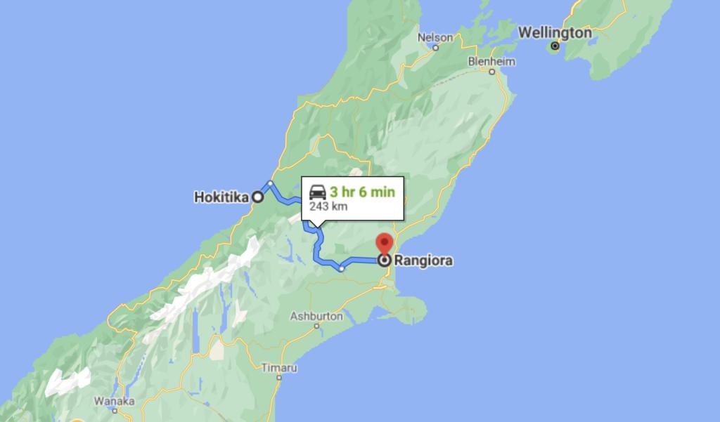 Маршрут благотворительного пробега в Новой Зеландии